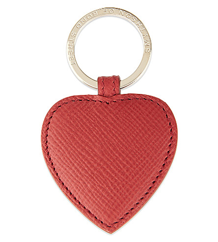 SMYTHSON Panama leather heart keyring (Red