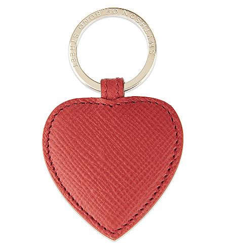 SMYTHSON Panama leather heart keyring (Red