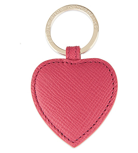 SMYTHSON Panama leather heart keyring (Fuchsia
