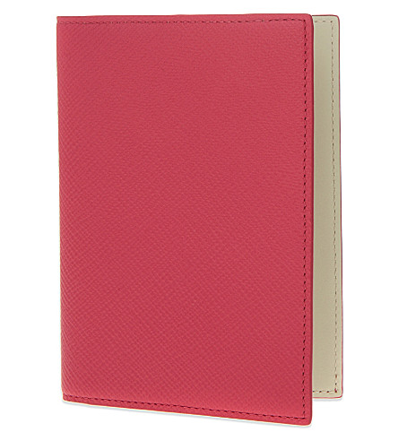 SMYTHSON Panama leather passport cover (Fuchsia