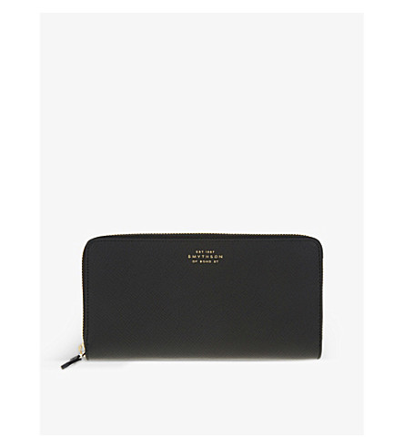 SMYTHSON Panama large slim leather purse (Black