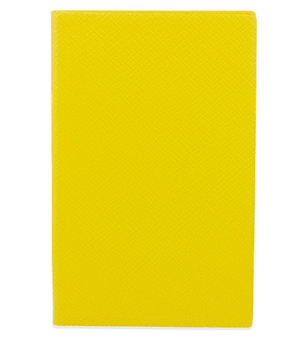 SMYTHSON Panama leather notebook 14cm (Yellow