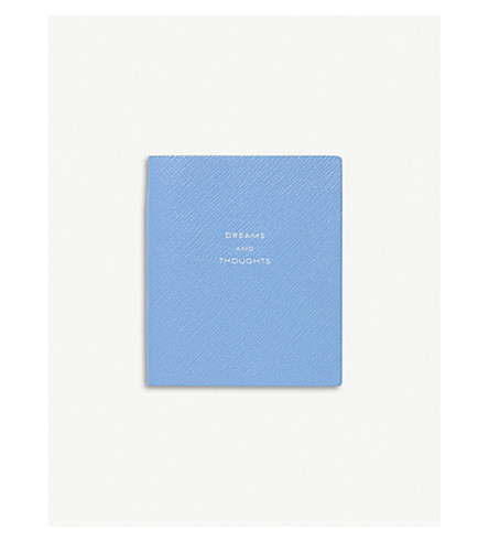 SMYTHSON Panama dreams and thoughts leather notebook 11cm (Nile+blue