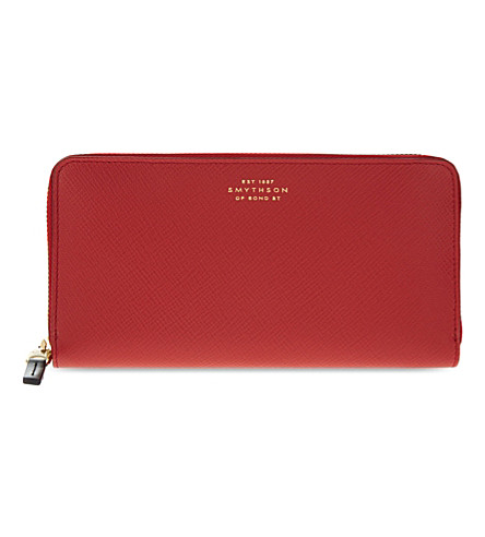 SMYTHSON Panama large slim leather purse (Red