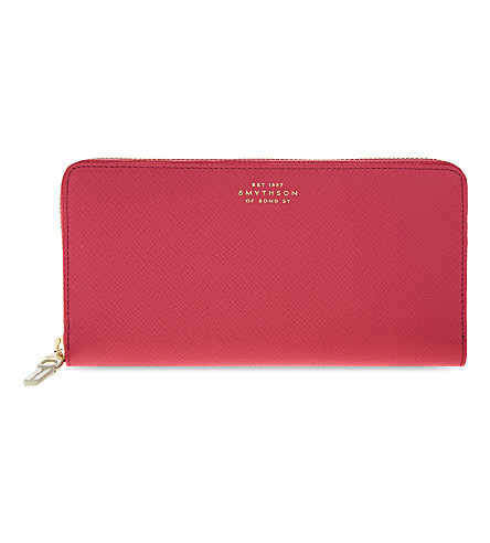 SMYTHSON Panama large slim leather purse (Fuchsia
