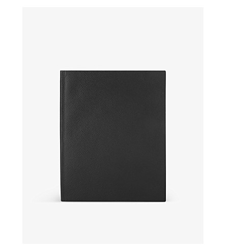 SMYTHSON Portobello leather notebook 25cm (Black