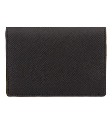 SMYTHSON Panama leather card case (Black