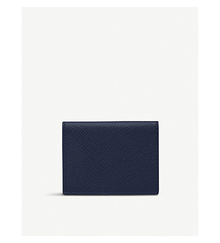SMYTHSON Panama grained-leather travel pass holder (Navy