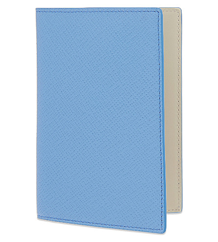 SMYTHSON Panama leather passport cover (Nile+blue