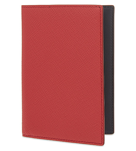 SMYTHSON Panama leather passport cover (Red