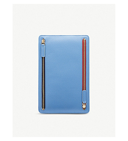 SMYTHSON Panama leather currency case (Nile+blue