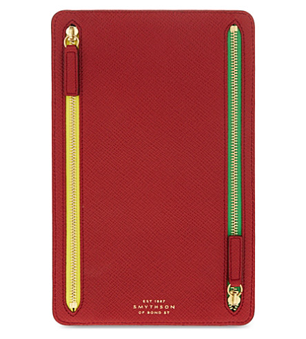 SMYTHSON Panama leather currency case (Red
