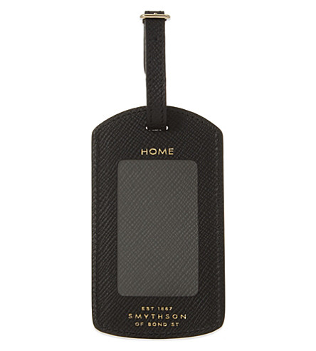SMYTHSON Panama leather luggage tag (Black