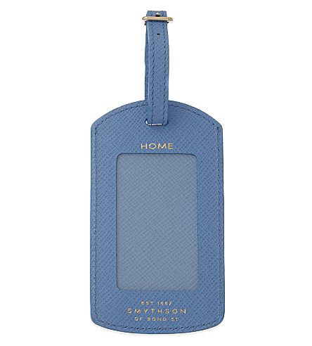 SMYTHSON Panama leather luggage tag (Nile+blue