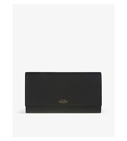 SMYTHSON Panama Marshall leather travel wallet (Black