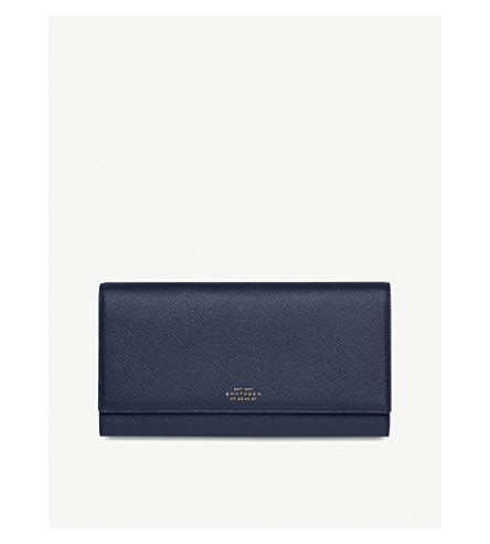 SMYTHSON Panama Marshall leather travel wallet (Navy