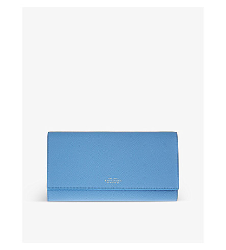 SMYTHSON Panama Marshall leather travel wallet (Nile+blue