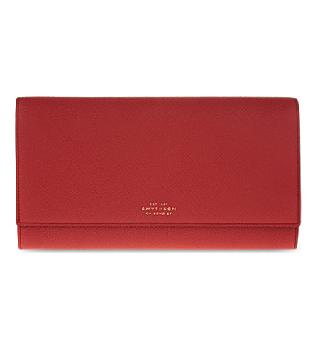 SMYTHSON Panama Marshall leather travel wallet (Red