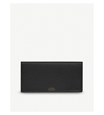 SMYTHSON Panama slim grained-leather travel wallet (Black