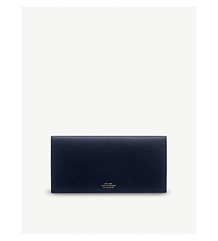 SMYTHSON Panama cross-grained slim leather travel wallet (Navy