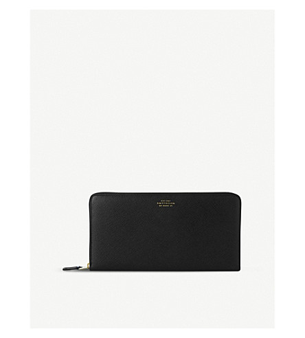 SMYTHSON Panama grained-leather travel wallet (Black
