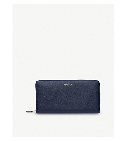 SMYTHSON Panama grained-leather travel wallet (Navy