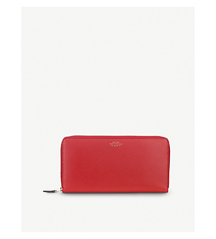 SMYTHSON Panama grained-leather travel wallet (Red