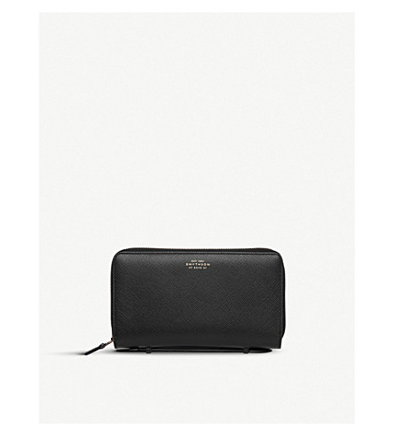 SMYTHSON Panama double zipped grained-leather travel wallet (Black