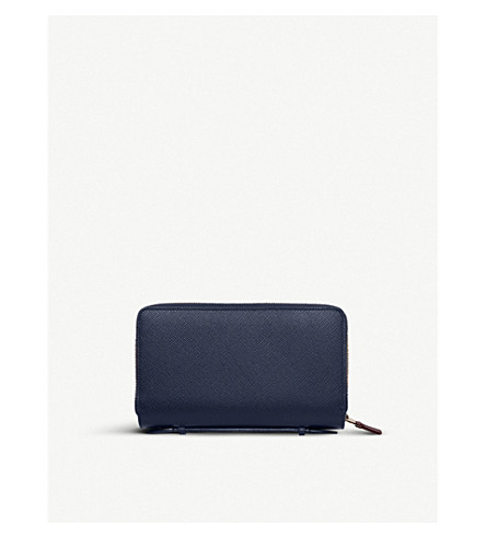 SMYTHSON Panama double zipped grained-leather travel wallet (Navy