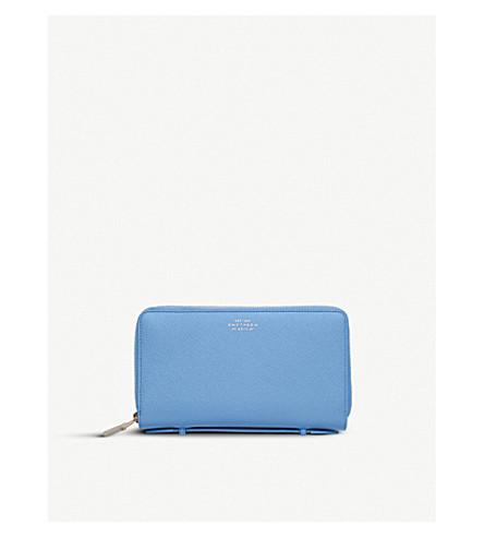 SMYTHSON Panama double zipped grained-leather travel wallet (Nile+blue