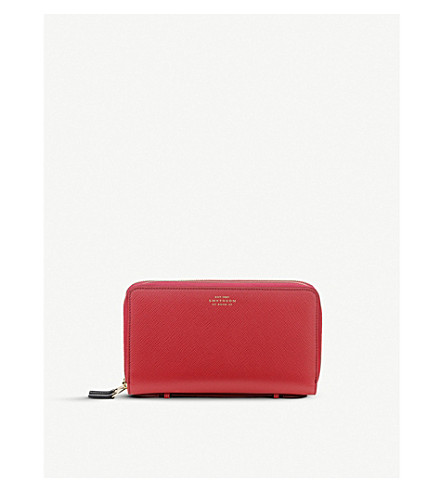 SMYTHSON Panama double zipped grained-leather travel wallet (Red