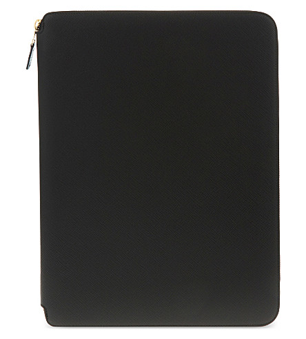 SMYTHSON Panama leather A4 writing folder 25cm (Black