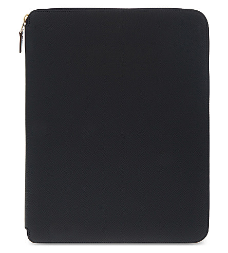SMYTHSON Panama leather A4 writing folder 25cm (Navy