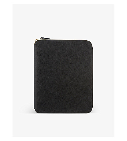 SMYTHSON Panama A5 leather writing folder 24cm (Black