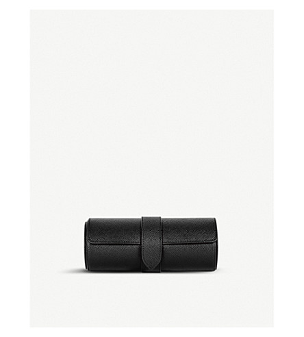 SMYTHSON Panama grained-leather travel watch roll (Black