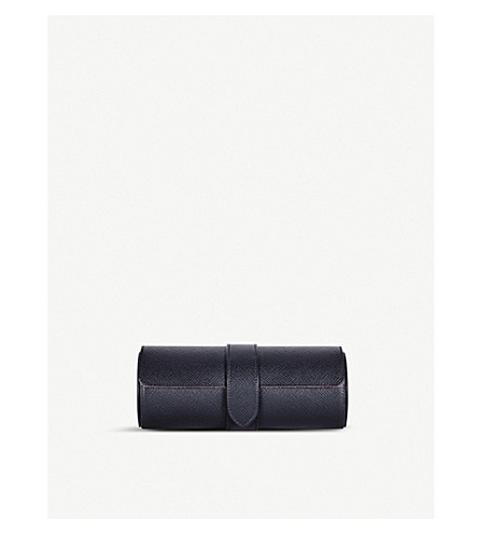 SMYTHSON Panama grained-leather travel watch roll (Navy