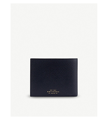 SMYTHSON Panama leather wallet with ID pocket (Navy