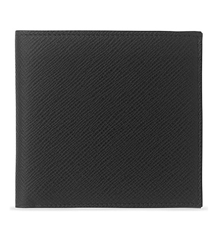 SMYTHSON Panama cross-grain leather eight card wallet (Black