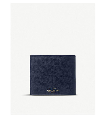 SMYTHSON Panama leather wallet with coin pocket (Navy