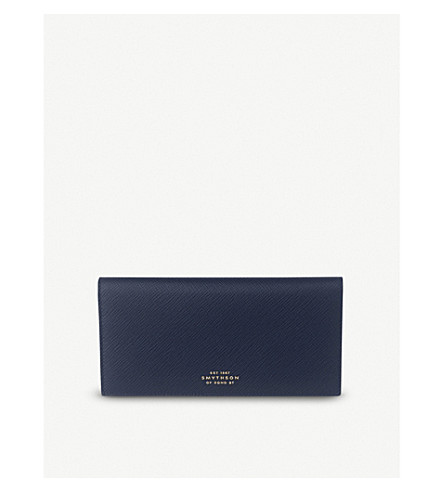 SMYTHSON Panama slim leather wallet (Navy
