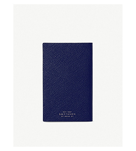 SMYTHSON Panama leather notebook 14cm (Bluenavyheritage