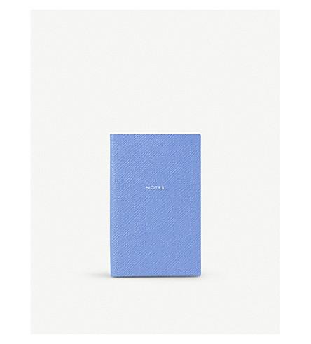 SMYTHSON Panama Notes leather notebook 14cm (Nile+blue