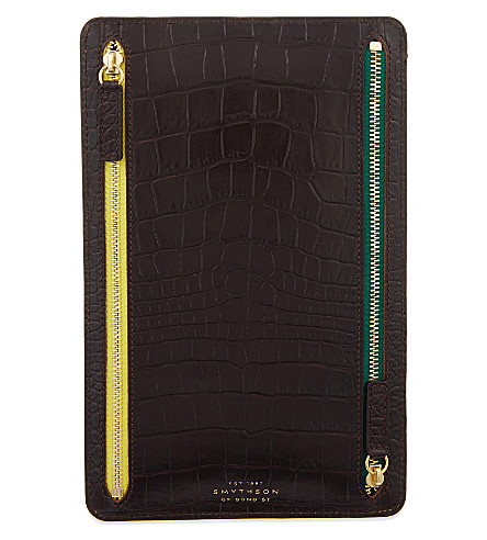 SMYTHSON Mara leather currency case (Brown