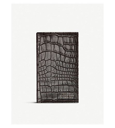 SMYTHSON Mara crocodile-printed leather pocket memo (Brown