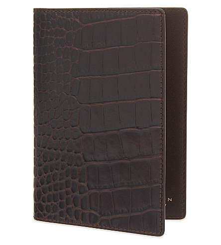 SMYTHSON Mara leather passport holder (Brown