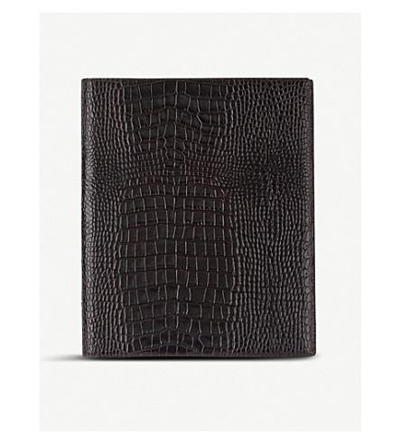 SMYTHSON Mara A4 crocodile-embossed leather writing folder (Brown