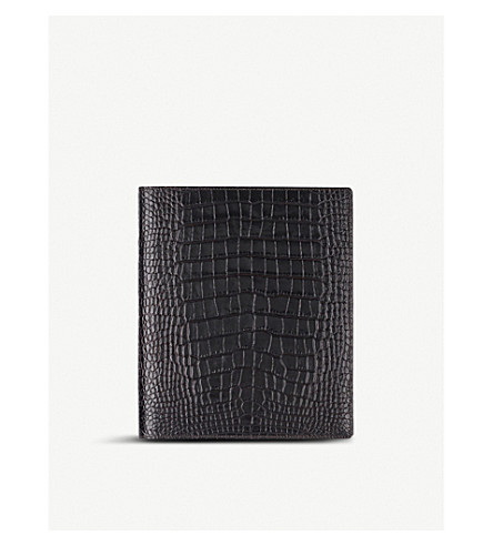SMYTHSON Mara A5 crocodile-embossed leather writing folder (Brown