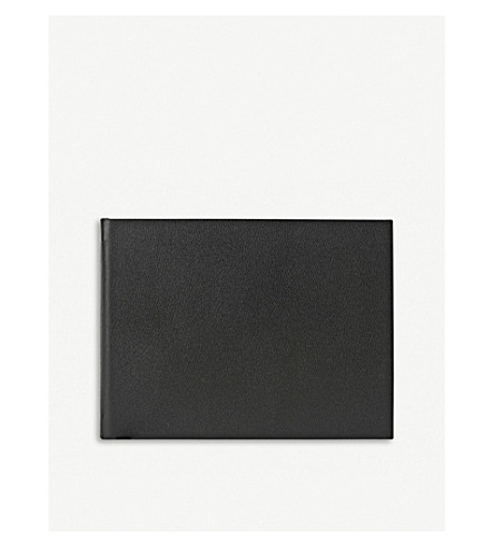 SMYTHSON Small leather guest book (Black