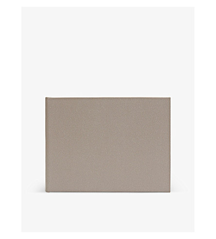 SMYTHSON Small leather guest book (Dove+grey