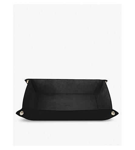 SMYTHSON Panama large leather trinket tray (Black